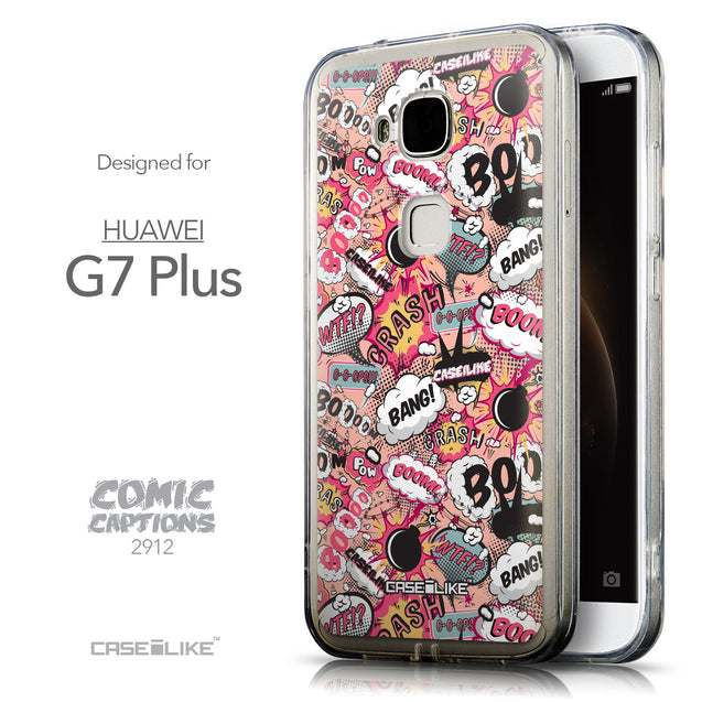 Front & Side View - CASEiLIKE Huawei G7 Plus back cover Comic Captions Pink 2912