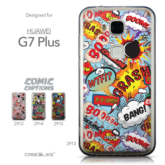 Collection - CASEiLIKE Huawei G7 Plus back cover Comic Captions Blue 2913