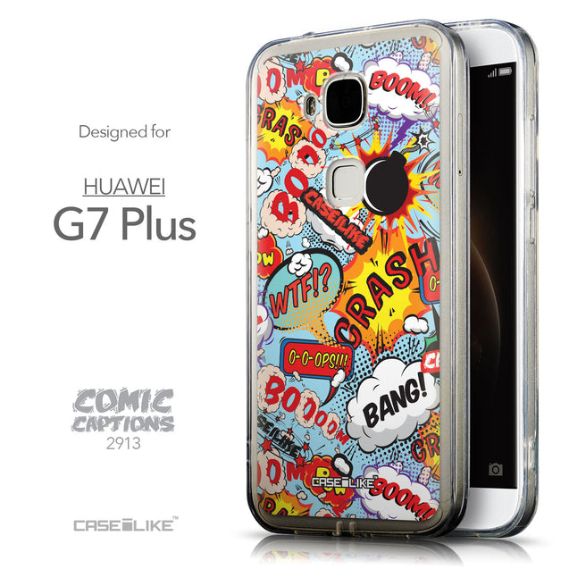 Front & Side View - CASEiLIKE Huawei G7 Plus back cover Comic Captions Blue 2913