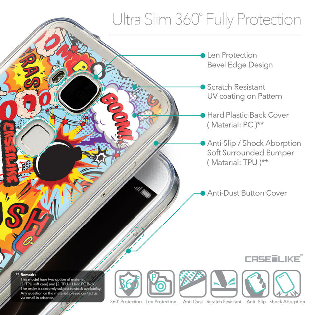 Details in English - CASEiLIKE Huawei G7 Plus back cover Comic Captions Blue 2913