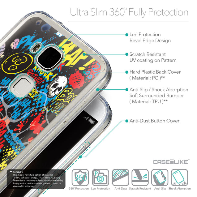 Details in English - CASEiLIKE Huawei G7 Plus back cover Comic Captions Black 2915