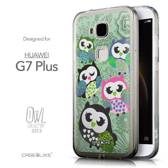 Front & Side View - CASEiLIKE Huawei G7 Plus back cover Owl Graphic Design 3313