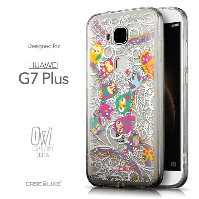 Front & Side View - CASEiLIKE Huawei G7 Plus back cover Owl Graphic Design 3316