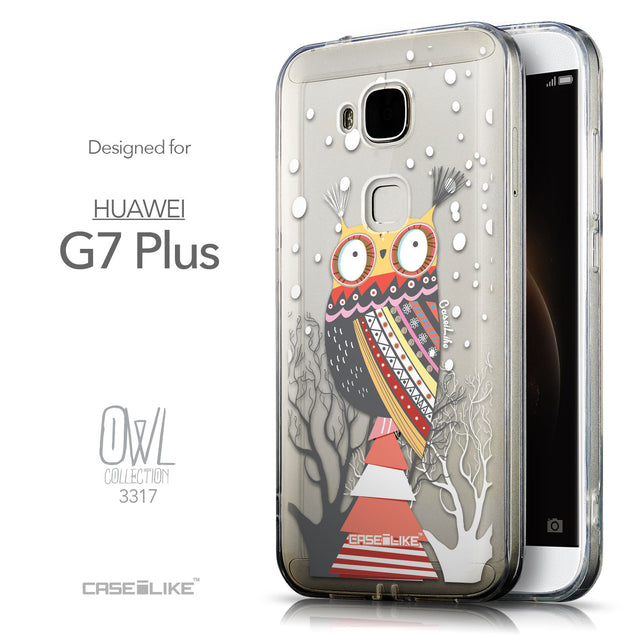 Front & Side View - CASEiLIKE Huawei G7 Plus back cover Owl Graphic Design 3317
