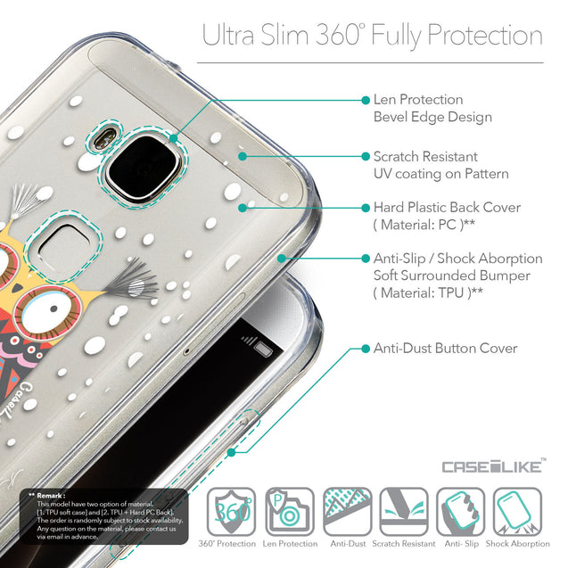Details in English - CASEiLIKE Huawei G7 Plus back cover Owl Graphic Design 3317