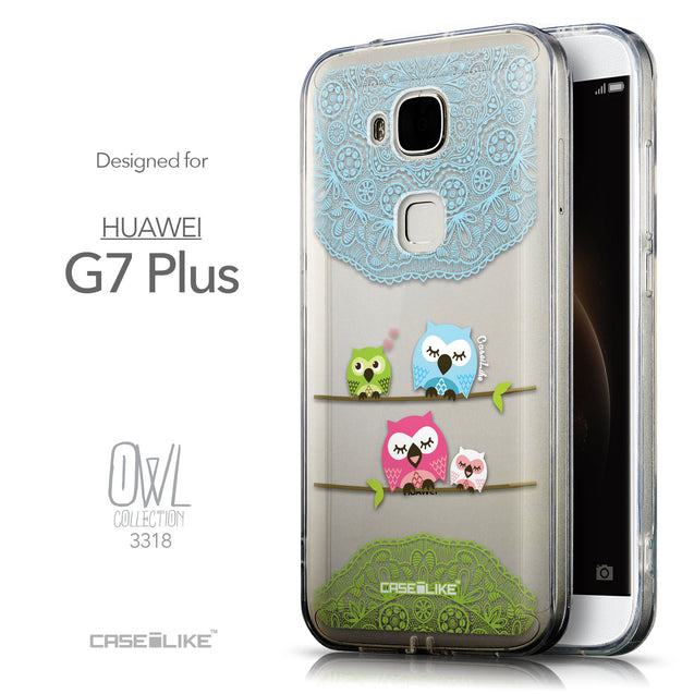 Front & Side View - CASEiLIKE Huawei G7 Plus back cover Owl Graphic Design 3318