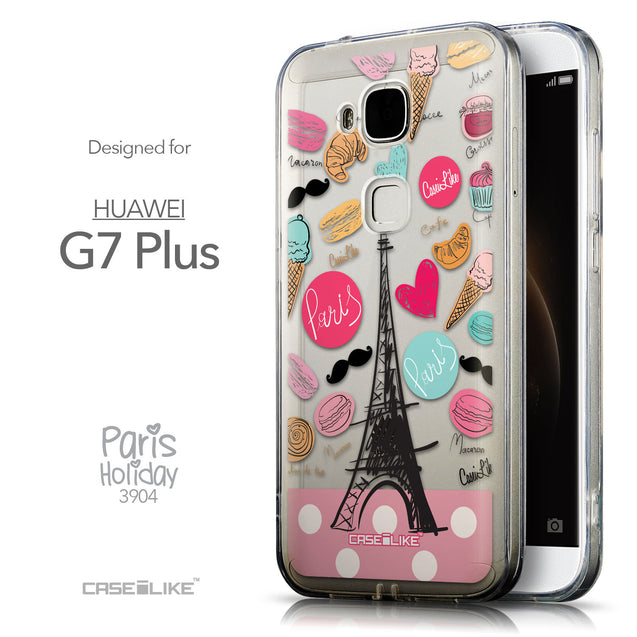 Front & Side View - CASEiLIKE Huawei G7 Plus back cover Paris Holiday 3904