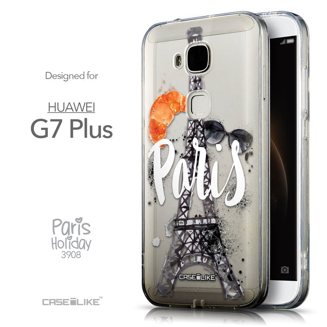 Front & Side View - CASEiLIKE Huawei G7 Plus back cover Paris Holiday 3908