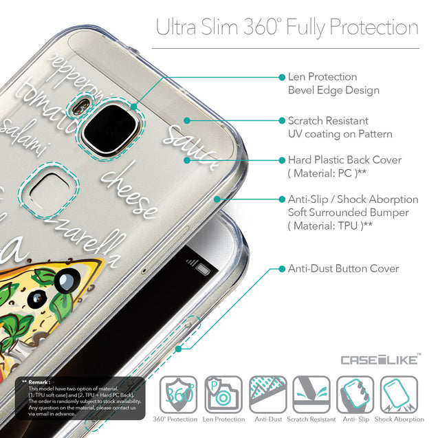 Details in English - CASEiLIKE Huawei G7 Plus back cover Pizza 4822