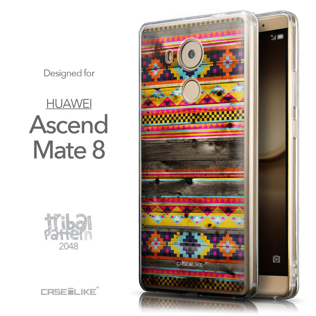 Front & Side View - CASEiLIKE Huawei Mate 8 back cover Indian Tribal Theme Pattern 2048
