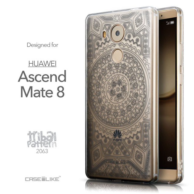 Front & Side View - CASEiLIKE Huawei Mate 8 back cover Indian Line Art 2063