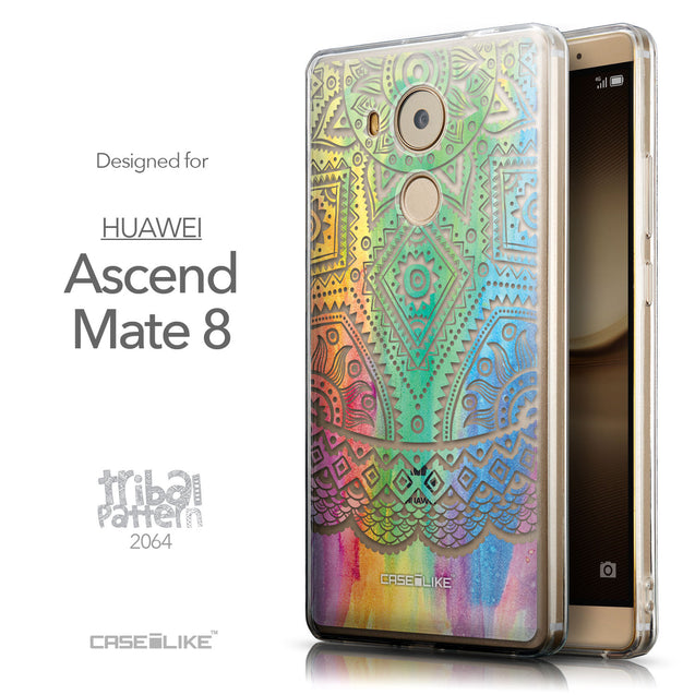 Front & Side View - CASEiLIKE Huawei Mate 8 back cover Indian Line Art 2064