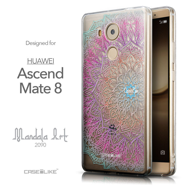 Front & Side View - CASEiLIKE Huawei Mate 8 back cover Mandala Art 2090