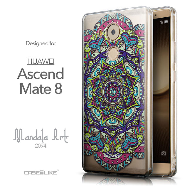 Front & Side View - CASEiLIKE Huawei Mate 8 back cover Mandala Art 2094