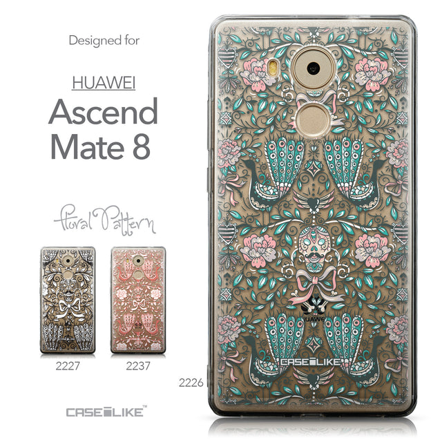 Collection - CASEiLIKE Huawei Mate 8 back cover Roses Ornamental Skulls Peacocks 2226