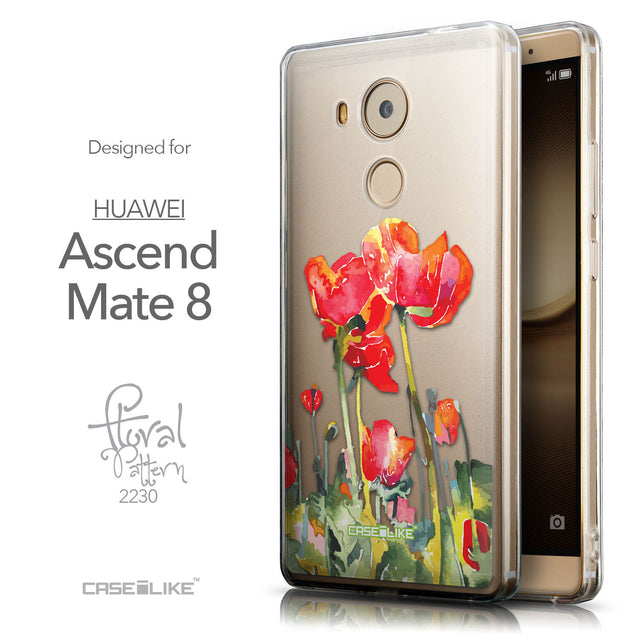 Front & Side View - CASEiLIKE Huawei Mate 8 back cover Watercolor Floral 2230