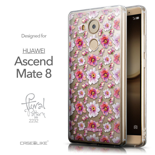 Front & Side View - CASEiLIKE Huawei Mate 8 back cover Watercolor Floral 2232