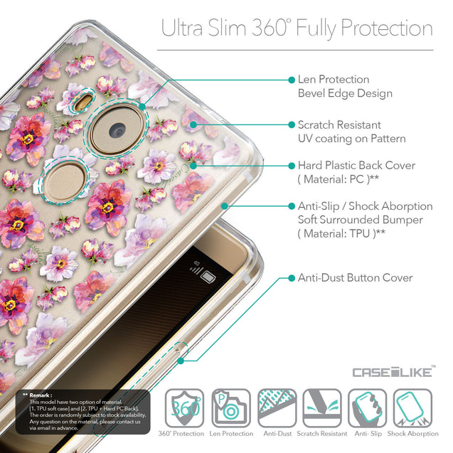 Details in English - CASEiLIKE Huawei Mate 8 back cover Watercolor Floral 2232