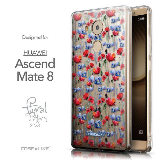 Front & Side View - CASEiLIKE Huawei Mate 8 back cover Watercolor Floral 2233
