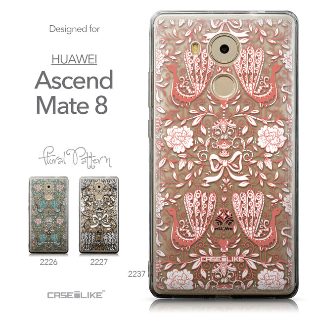 Collection - CASEiLIKE Huawei Mate 8 back cover Roses Ornamental Skulls Peacocks 2237