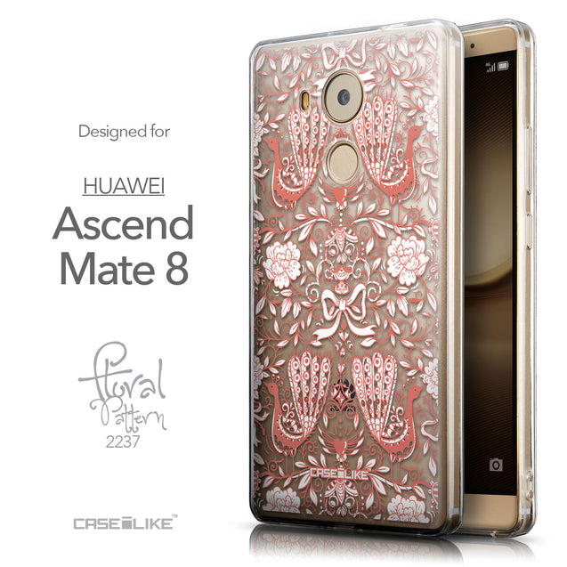 Front & Side View - CASEiLIKE Huawei Mate 8 back cover Roses Ornamental Skulls Peacocks 2237