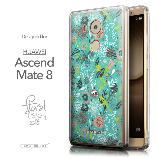 Front & Side View - CASEiLIKE Huawei Mate 8 back cover Spring Forest Turquoise 2245