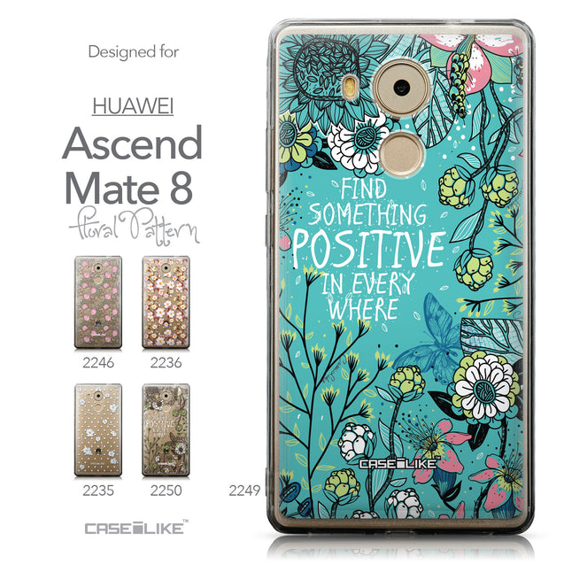 Collection - CASEiLIKE Huawei Mate 8 back cover Blooming Flowers Turquoise 2249