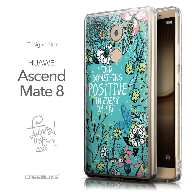 Front & Side View - CASEiLIKE Huawei Mate 8 back cover Blooming Flowers Turquoise 2249