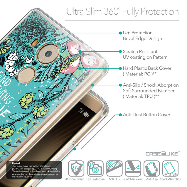 Details in English - CASEiLIKE Huawei Mate 8 back cover Blooming Flowers Turquoise 2249