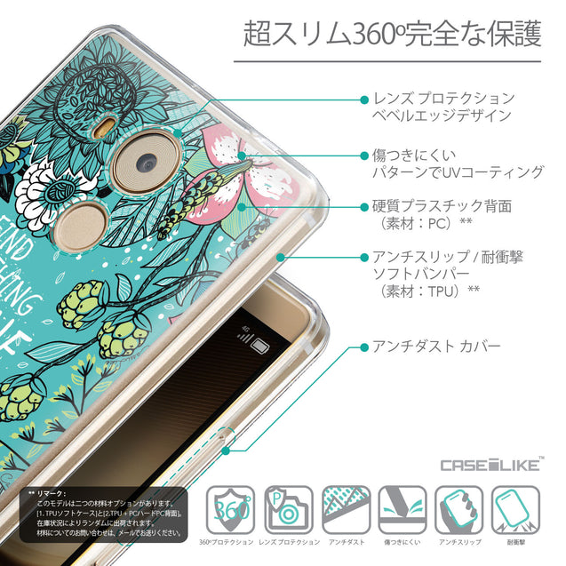 Details in Japanese - CASEiLIKE Huawei Mate 8 back cover Blooming Flowers Turquoise 2249
