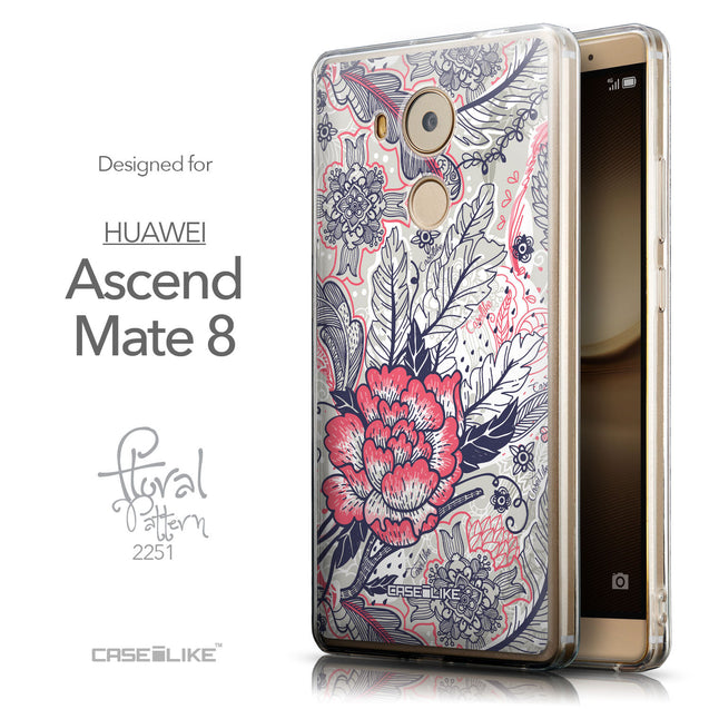 Front & Side View - CASEiLIKE Huawei Mate 8 back cover Vintage Roses and Feathers Beige 2251
