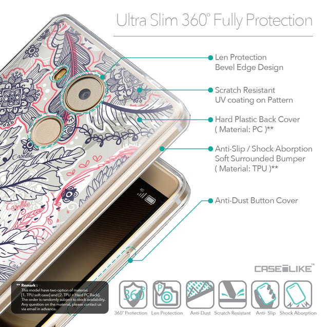 Details in English - CASEiLIKE Huawei Mate 8 back cover Vintage Roses and Feathers Beige 2251