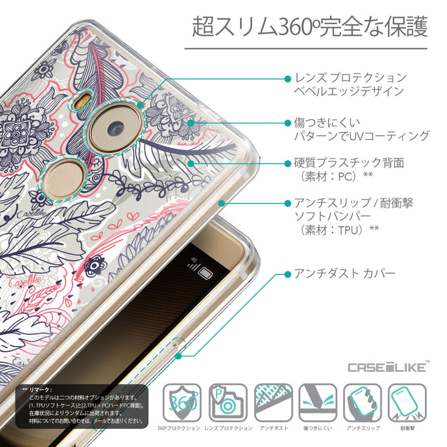 Details in Japanese - CASEiLIKE Huawei Mate 8 back cover Vintage Roses and Feathers Beige 2251