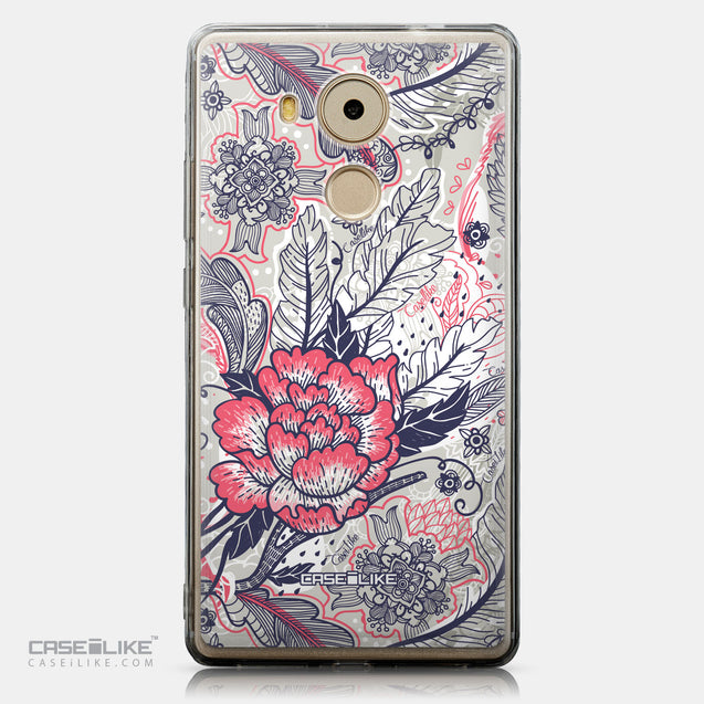 CASEiLIKE Huawei Mate 8 back cover Vintage Roses and Feathers Beige 2251