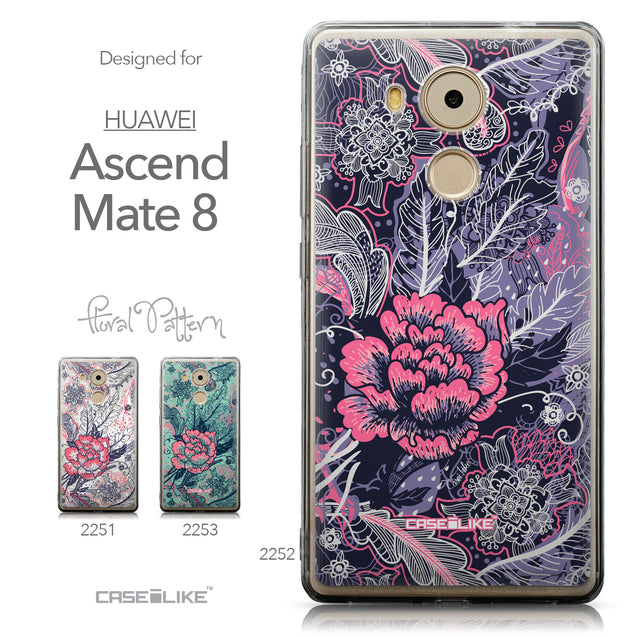Collection - CASEiLIKE Huawei Mate 8 back cover Vintage Roses and Feathers Blue 2252