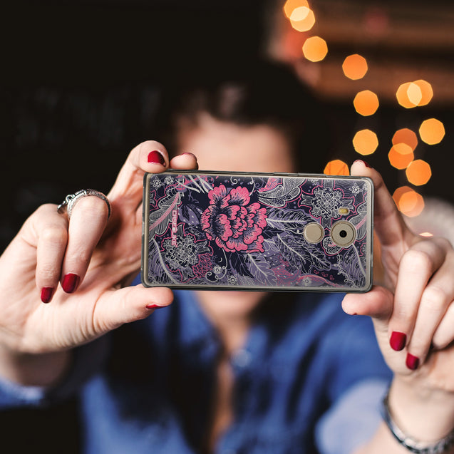 Share - CASEiLIKE Huawei Mate 8 back cover Vintage Roses and Feathers Blue 2252