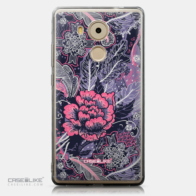 CASEiLIKE Huawei Mate 8 back cover Vintage Roses and Feathers Blue 2252
