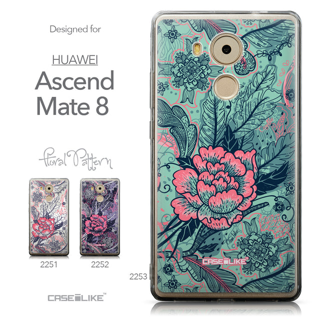 Collection - CASEiLIKE Huawei Mate 8 back cover Vintage Roses and Feathers Turquoise 2253