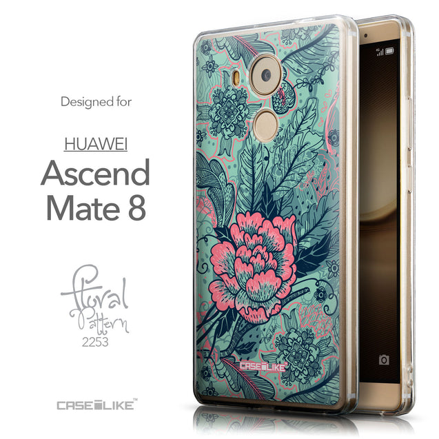Front & Side View - CASEiLIKE Huawei Mate 8 back cover Vintage Roses and Feathers Turquoise 2253
