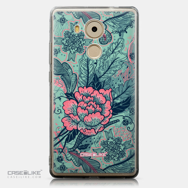CASEiLIKE Huawei Mate 8 back cover Vintage Roses and Feathers Turquoise 2253