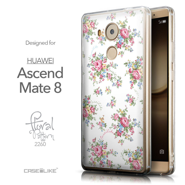 Front & Side View - CASEiLIKE Huawei Mate 8 back cover Floral Rose Classic 2260