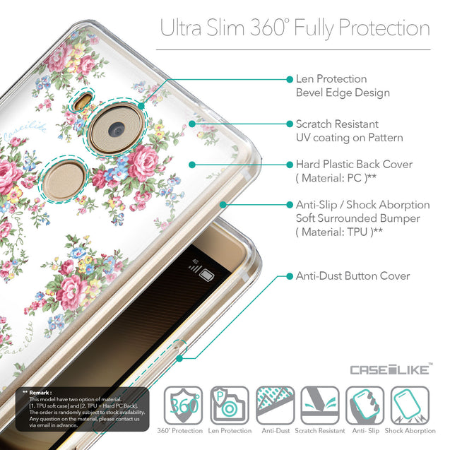 Details in English - CASEiLIKE Huawei Mate 8 back cover Floral Rose Classic 2260