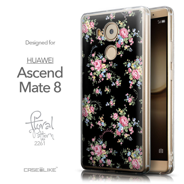 Front & Side View - CASEiLIKE Huawei Mate 8 back cover Floral Rose Classic 2261