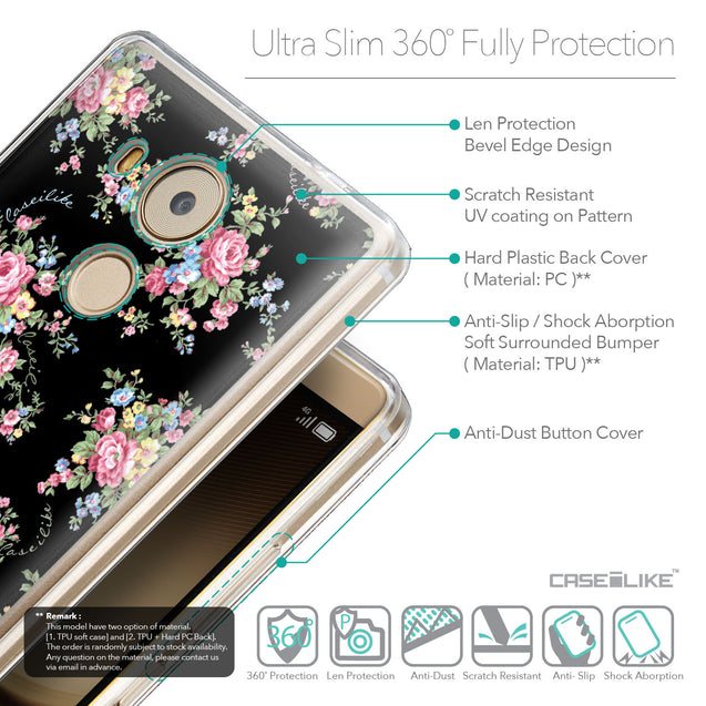 Details in English - CASEiLIKE Huawei Mate 8 back cover Floral Rose Classic 2261