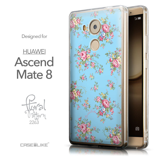 Front & Side View - CASEiLIKE Huawei Mate 8 back cover Floral Rose Classic 2263