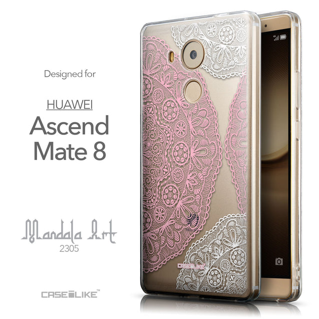 Front & Side View - CASEiLIKE Huawei Mate 8 back cover Mandala Art 2305