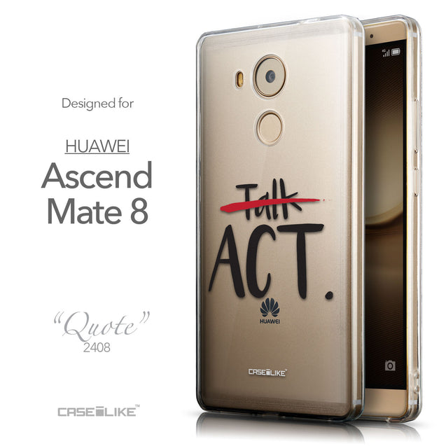 Front & Side View - CASEiLIKE Huawei Mate 8 back cover Quote 2408
