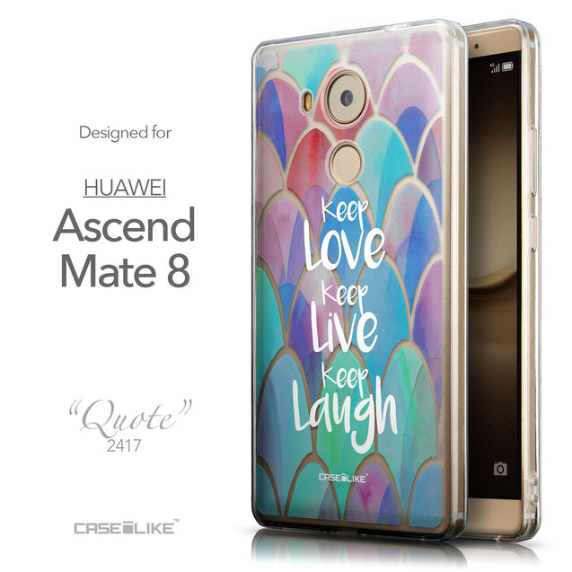 Front & Side View - CASEiLIKE Huawei Mate 8 back cover Quote 2417