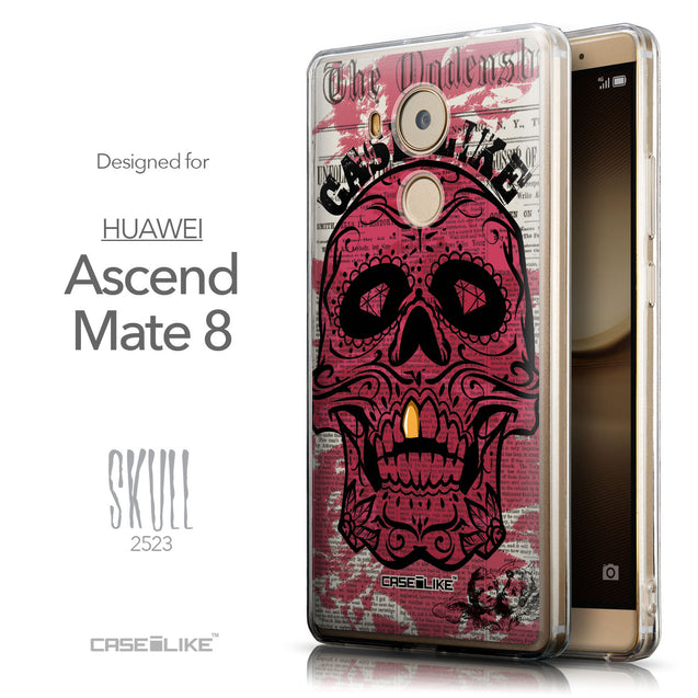 Front & Side View - CASEiLIKE Huawei Mate 8 back cover Art of Skull 2523