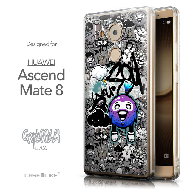 Front & Side View - CASEiLIKE Huawei Mate 8 back cover Graffiti 2706